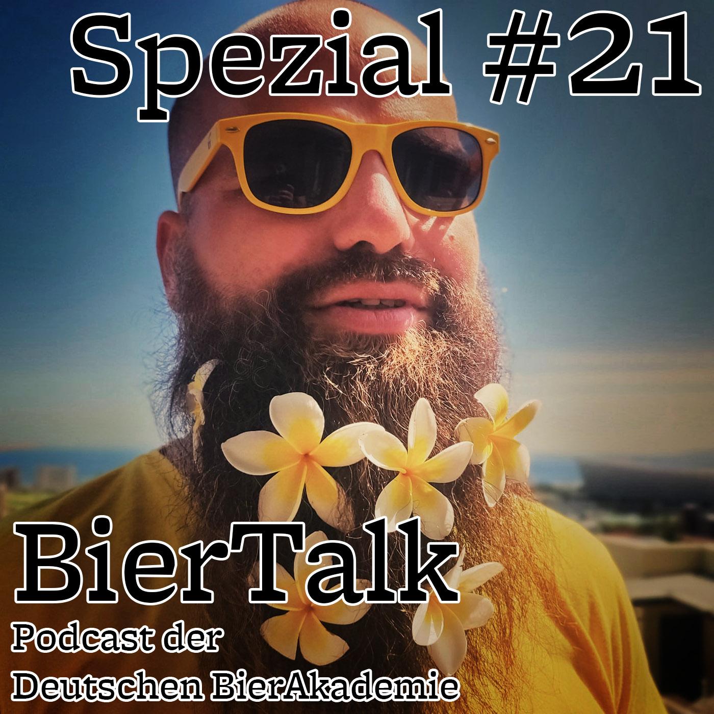 BierTalk Podcast Cover mit Randolf Jorberg mit gelben Blumen im Bart